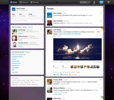 The new Twitter interface, courtesy of fly.twitter.com.