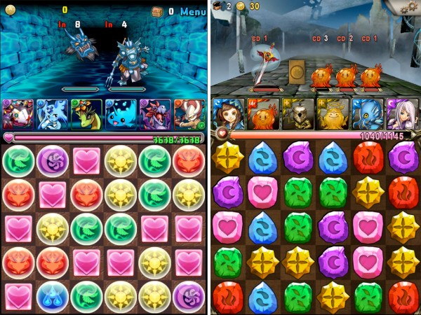 Left: Puzzle & Dragons. Right: Tower of Saviors. Image sources: AppAdvice, USGamer.