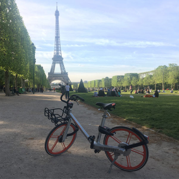 Photo of bike share in front of the Eiffel Tower